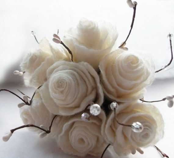 Felted Bouquet of White Roses ~