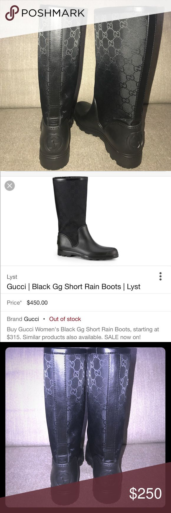 GUCCI Signature logo Black GG short rain boot 37 Brand new!! Never worn. Too small for me 🙁 💯% AUTHENTIC. ✨AMAZING NEW condition✨ (as the pics show). ❌No PP ❌Taking transactions off posh. Please don't ask. Open to trades. Currently looking f/Tory Burch Miller sandals (Sz 8, 8.5, & maybe 9). Always loving 😍 LV, Chanel, & Valentino flats/Chanel pearl necklaces/Goyard purses. Also, open to reasonable offers 😃. Gucci Shoes Winter & Rain Boots