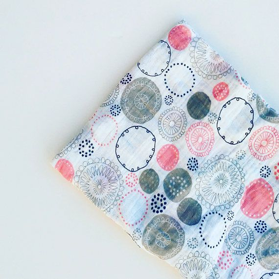 Baby swaddle blanket, pink and gray swaddle, muslin swaddle, summer baby blanket, girl swaddle blanket, gauze, cotton muslin, pink circles