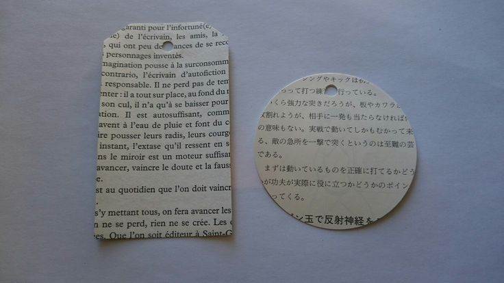 Gift tags made from recycled Japanese and French books