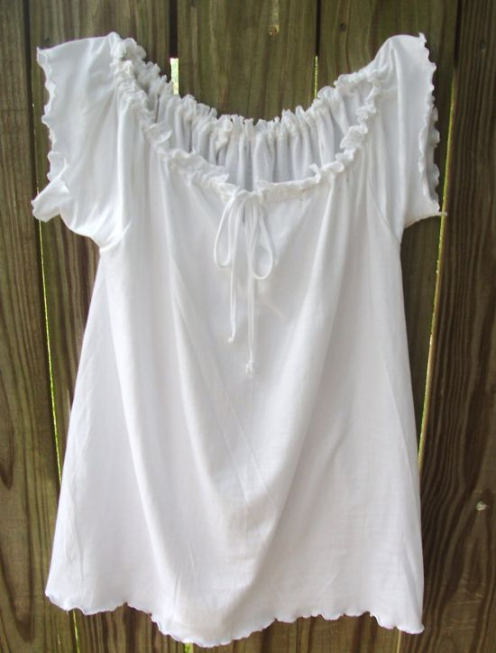 Make this adorable airy peasant top out of a man's t-shirt with this tutorial: