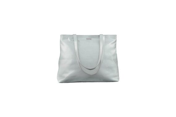 Silver Leather Shopper Bag Silver Tote Bag Silver Bag by MONAObags
