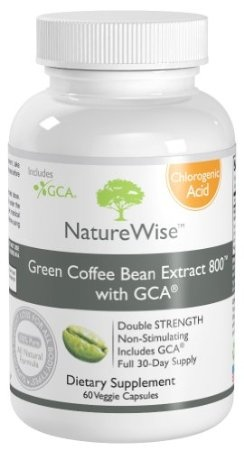 Green Coffee Bean Extract 800 with GCA - 100% Pure All Natural Weight Loss Supplement for All Body Types. Full 30-Day Supply. Double Strength 800mg. 60 Caps. Zero Fillers, Zero Binders, Zero Artificial Ingredients    NatureWise  $19.95