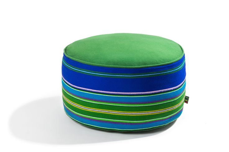 """Woolen pouf by Folka.pl with hand made fabric from Lowicz Region (Poland). Medium pouf 60 cm diameter 30cm height (24""""x12"""")"""