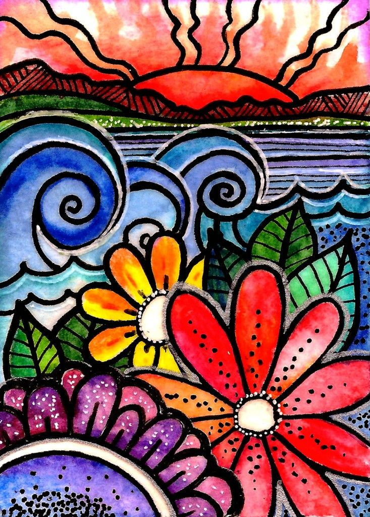 acrylic ink, gel pen, and watercolor do-it-yourself art