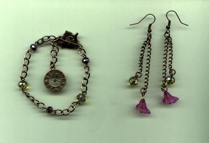 bracelet and earrings made for a competition where bits were supplied