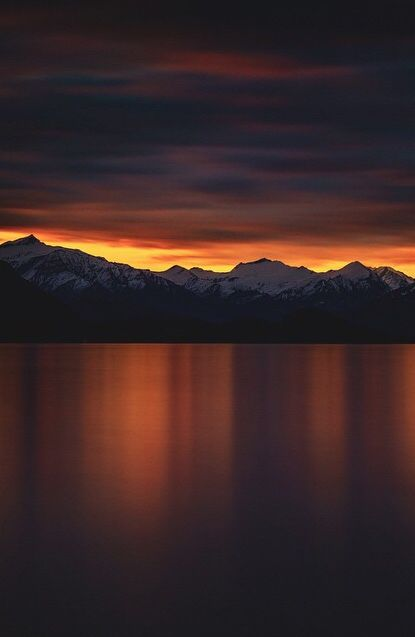 Sunset over mountains - perfect world