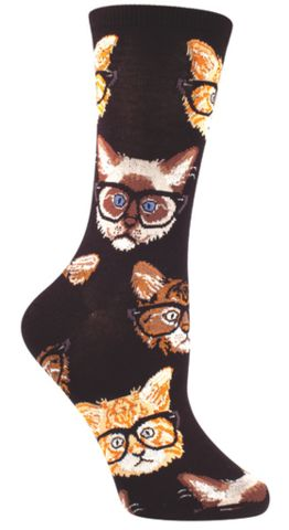 Like a hipster, only it's a kitten... with glasses. Yeah, it's that hip. Crew length sock available in navy, multi, or black. Fits women's shoe size 5-10.