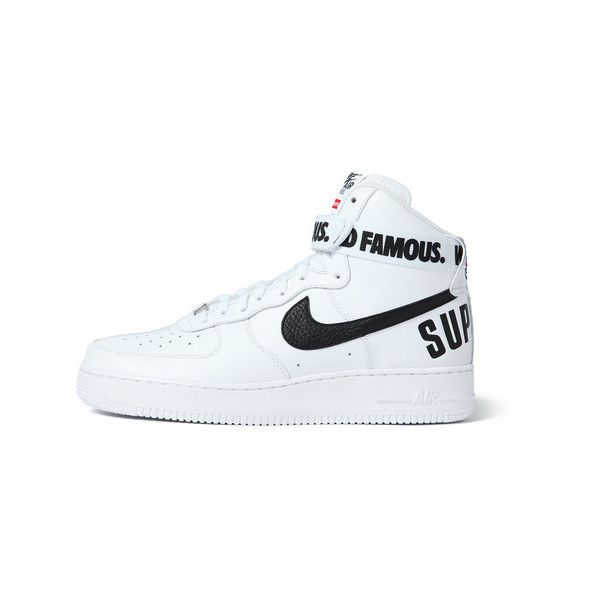 Supreme Nike /Supreme Air Force 1 Hi ($200) ❤ liked on Polyvore featuring shoes, sneakers, nike, trainers, nike shoes, nike footwear, nike sneakers en nike trainers