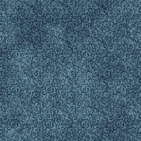 Dan Morris Woodland Spirit Blue Navy Scroll Cotton Fabric