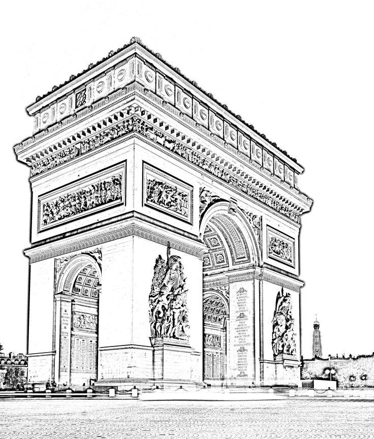 L 39 arc de triomphe en haute d finition coloriera partir for Architecture traditionnelle definition