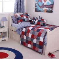 Boys navy and red patchwork quilt, McKenzie