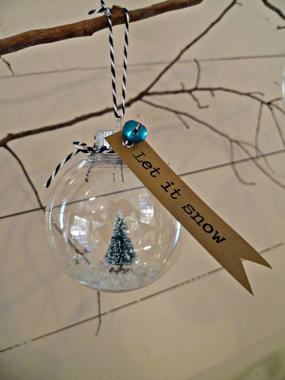 Happy Little Tree - Snow Globe Christmas Ornament - small - $5.50