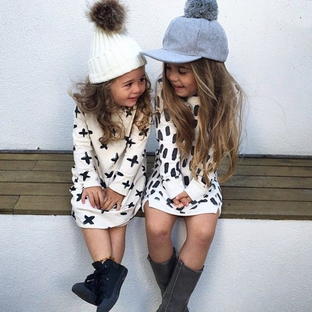 Sweater dresses, red hunter boots, cute hats for the girls