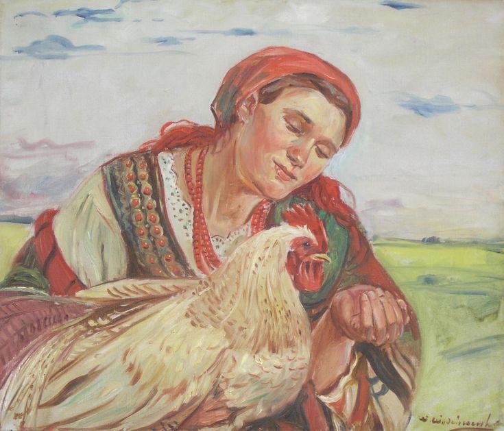 Wincenty WODZINOWSKI,Zatroskana gospodyni , olej, płótno, 44 x 51,5 cm