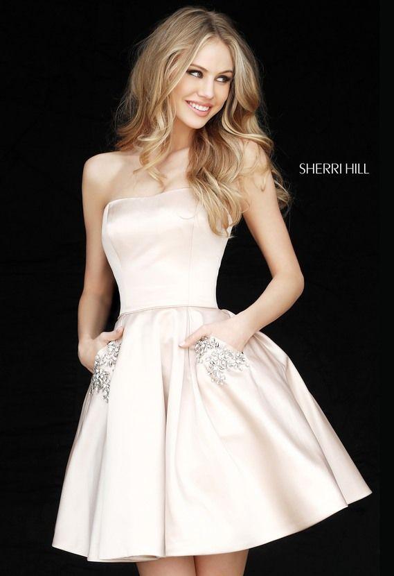 Strapless Sherri Hill 51390 Straight Neck Nude Short A-Line Satin Prom Dress Beaded Pockets