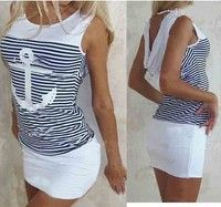 Material:Cotton Blended Color:White/Navy Blue(Rrefer to the picture) Size: S/M/L/XL S:Bust:80cm,Wais
