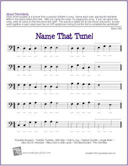 Name That Tune! (Bass Clef) | Free Note Name Worksheet