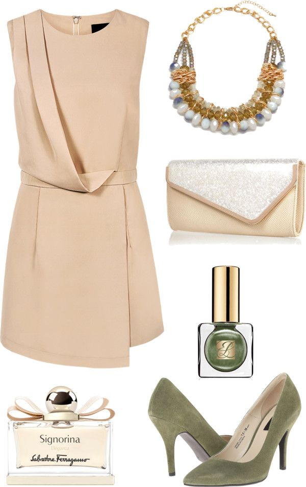 Nude wedding dress with olive pumps