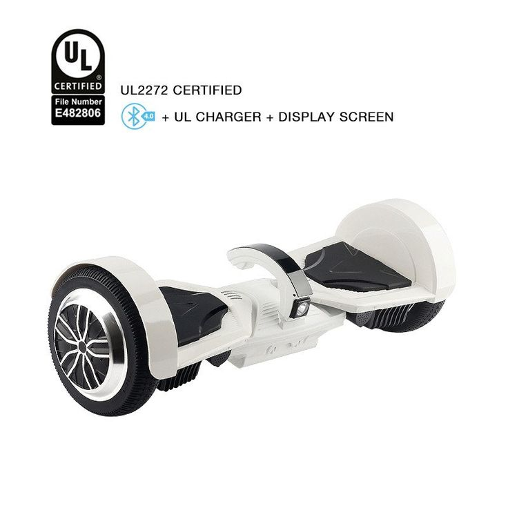 Latest Patented T5 White Hoverboard UL 2272 Certified Safe Hoverboard With  4.0 Bluetooth Speaker