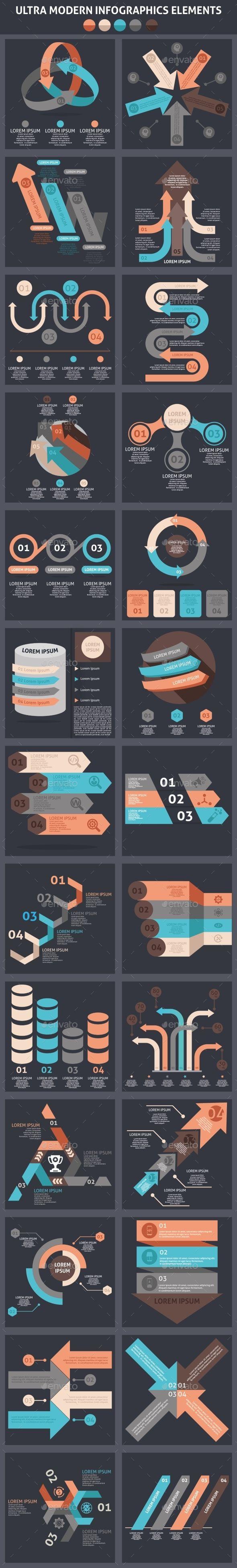Ultra Modern Infographics Element Templates PSD