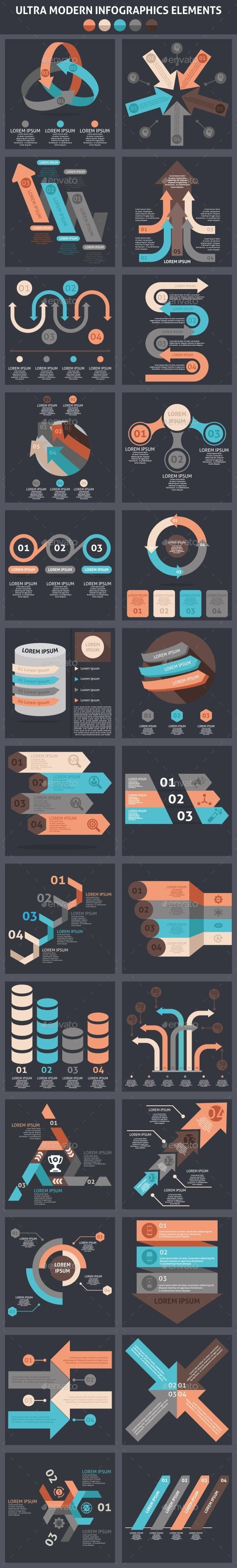 Ultra Modern Infographics Element Templates PSD