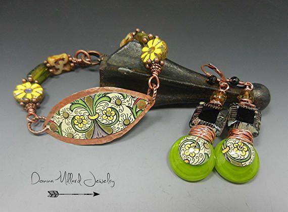 Vintage tin metal COPPER BRACELET Earring set Artisan Lampwork