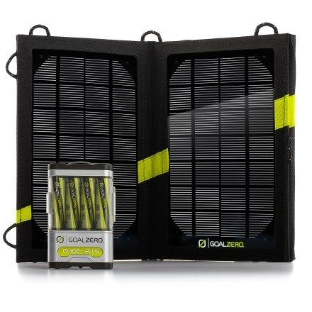Goal Zero Guide 10 Plus Adventure Kit Solar Charger $120 at REI ... wonder about this on our ride
