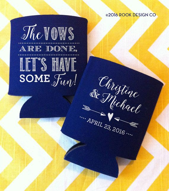 vows are done lets have some fun wedding can by rookdesignco