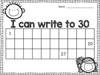 Five pages of number writing practice.... 1 to 30 1 to 50 51 to 100 51 to 110 101 to 150