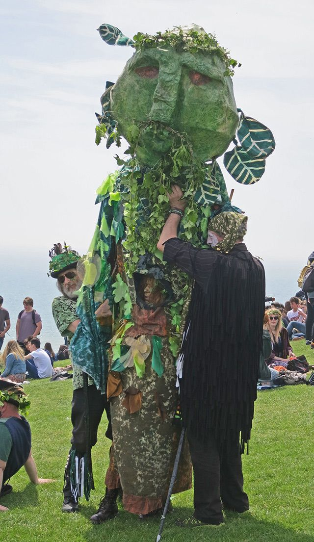 Jack in the Green has become identified with the mysterious Green Man depicted in mediaeval church carvings and is widely felt to be an embodiment of natural fertility, a spirit of the primeval greenwood and a trickster; he is linked to such mythological characters as Puck, Robin Goodfellow, Robin Hood, the wild man, and the Green Knight, among others such as the folklore behind the legend of Robin Hood.
