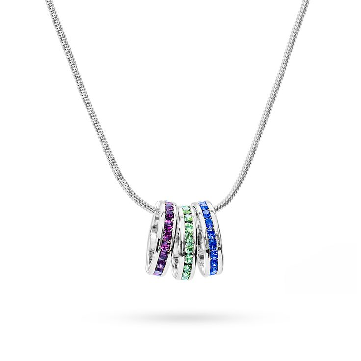 Birthstone charm necklace for Mom or Grandma - add up to 15 eternity charms.