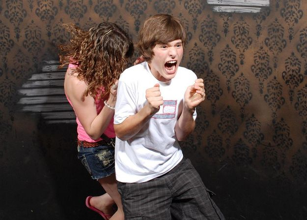 If you need a good laugh, look at these pictures! A haunted house had a hidden camera in it. These are so funny!!