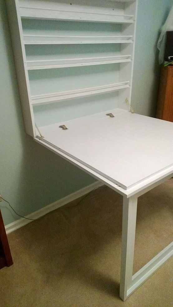 for office or laundry room    Fold up Craft Table and Storage Shelves. :: Hometalk