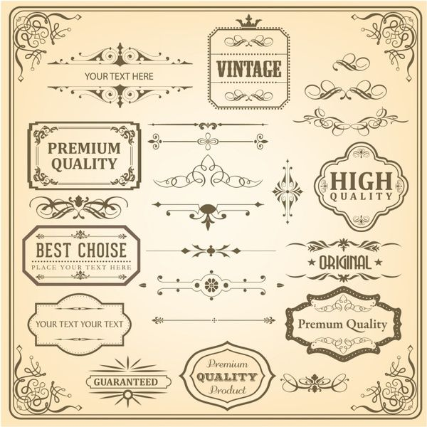 Vintage Ornaments and Labels Free vector in Adobe Illustrator ai ( .AI ), Encapsulated PostScript eps ( .EPS ) format for free download  2.36MB