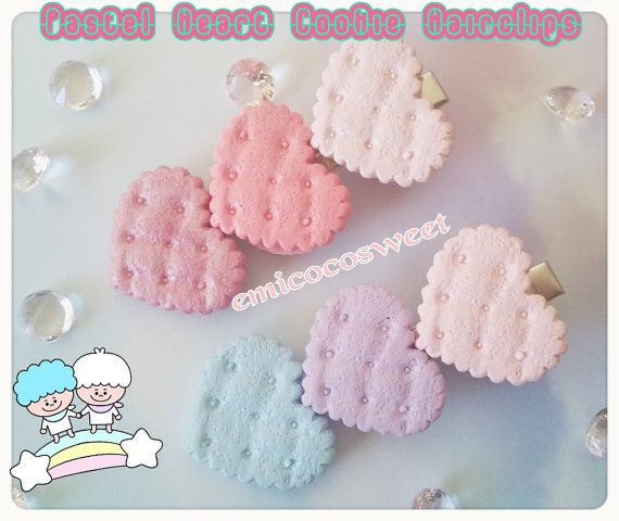 Pastel heart Cookie Hair clipFairy Kei Pastel Goth by emicocosweet