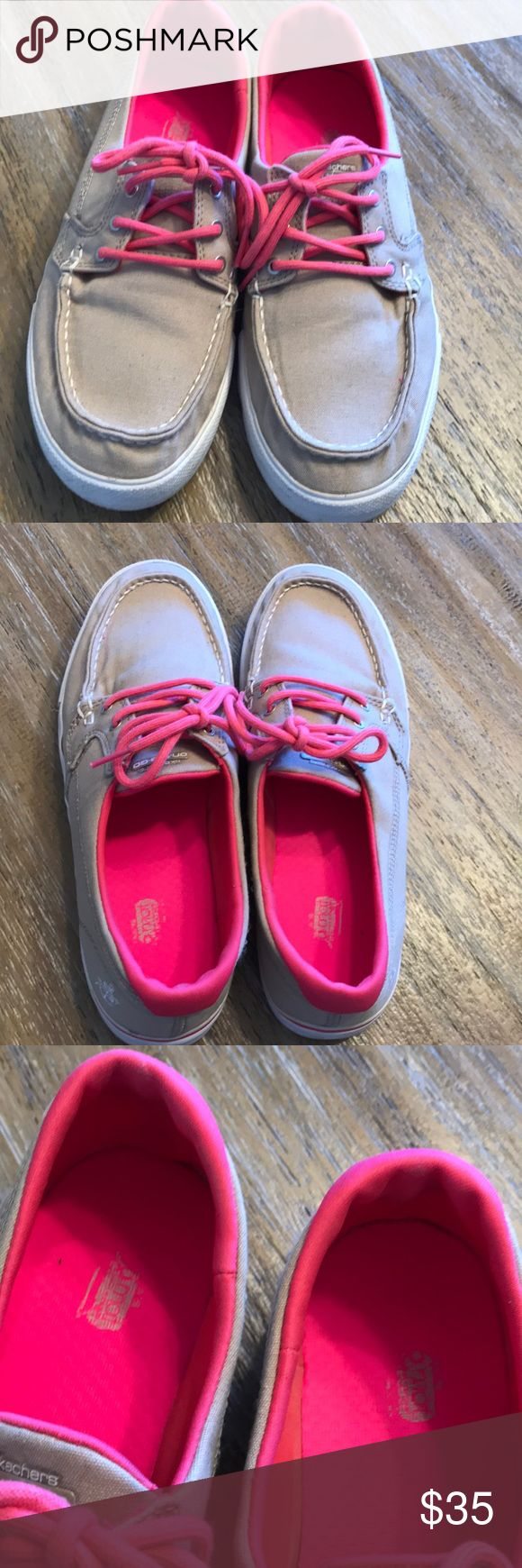 Skechers On-the-GO!! Tan and hot pink loafer style walking shoes!! Super comfy and in great condition other that some dirt on the sides and bottoms! Will clean and sanitize before shipping! Skechers Shoes Sneakers