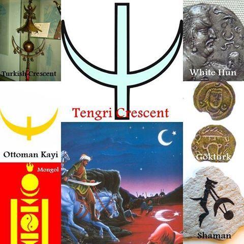 Tengrian Hilal Yıldız ve ay iki gökyüzü elementler tengriist inançları sembolize gökyüzünün antik Türkler tapan. Türk Mitolojisi ' da dört renkler ile ilişkili dört ana: Mavi (gök) ile doğu, beyaz (AK) Batı, kırmızı (al) ile Güney, siyah (kara) ile kuzey. Bu renkler yönünü temsil zenith doğru nerede ikamet tengri, gökyüzünde. Kara Deniz (Karadeniz) adı konumunu için kuzey, ve Türk / Qırımtatar Akdeniz adına, akdeniz (' Beyaz deniz '), Konumunu atıfta Batı ' da. Kırmızı ve beyaz renkler…