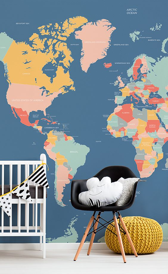 Modern nursery spaces done right. This world map mural showcases joyful pastels and labelled countries that help your child learn about the world. Offset the blue wallpaper with a knitted mustard pouffe to add extra OOMPH to your home.