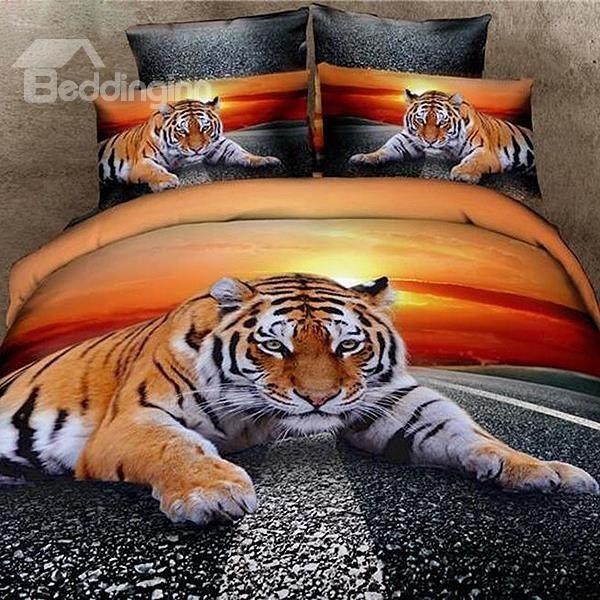 Vivid Lying Tiger 3D Printed 4-Piece Cotton Duvet Cover Sets