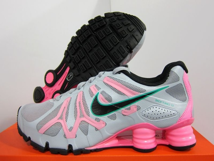 New Nike Womens Shox Turbo 13 525156 016 Wolf Grey Polarized Pink Teal