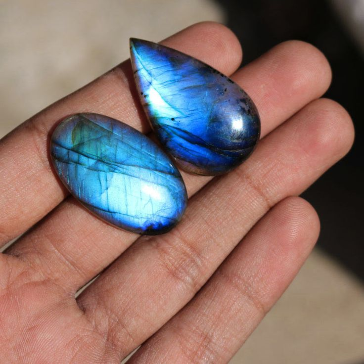 2Pcs 79Cts. 38x22mm 100%Natural AAA+++ Labradorite Blue Fire Pear Oval Gemstone #Unbranded