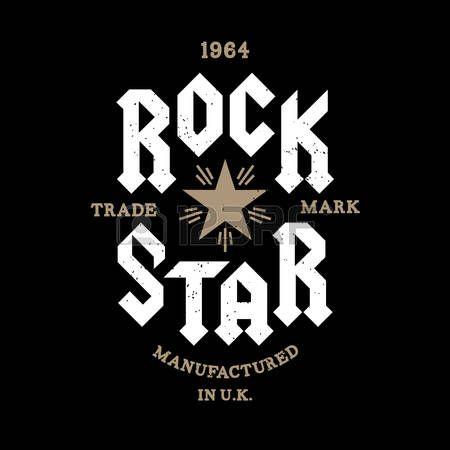 """monocromo vector inconformista insignia retro, etiqueta de """"estrella de rock"""" para el cartel, flayer o una camiseta impresa con letras, estrella, Starburst y rayos"""