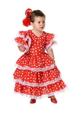 DisfracesMimo, disfraz de sevillana rojo con lunares niña 3 a 4 años.Compra tu disfraz barato y original para fiestas regionales y feria de abril.Ser una bailaora de sevillanas y flamenco.Este disfraz es ideal para tus fiestas temáticas de disfraces de sevillana,flamencas y andaluzas para niñas infantiles.