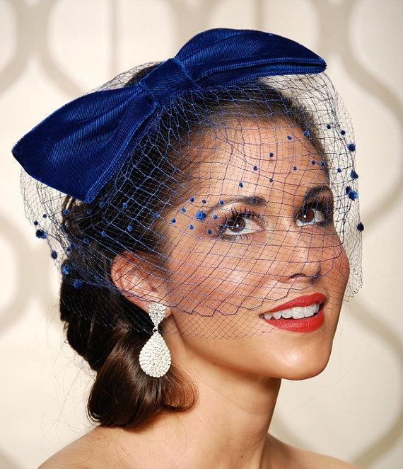 Velvet Cobalt Royal Blue Bow Cocktail Hat With Double
