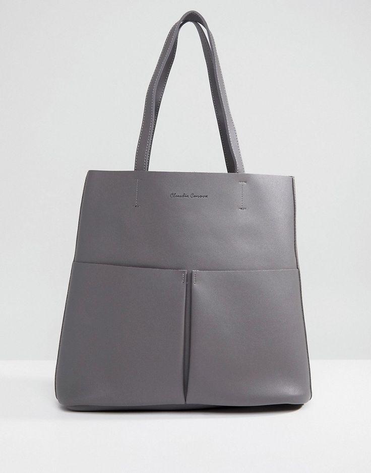 Claudia Canova Tote Bag With Front Pocket - Gray