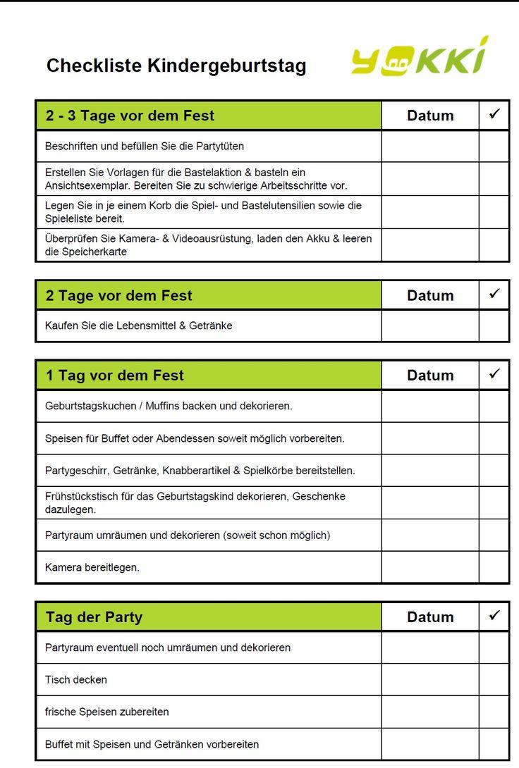 Gratis Checkliste für Partyplanung Kindergeburtstag