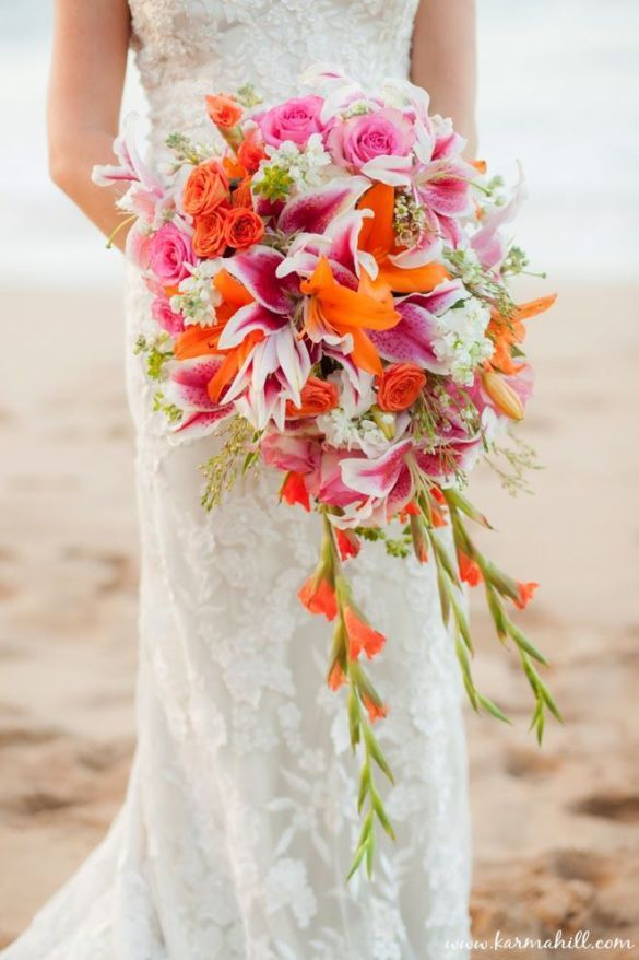 Pink And Orange Lily Wedding Bouquet Shared By Simple Maui Weddings Tropical Wedding Bouquets Tropical Wedding Flowers Lily Bouquet Wedding