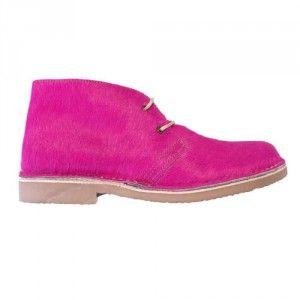Ботинки женские из меха пони цвета фуксия