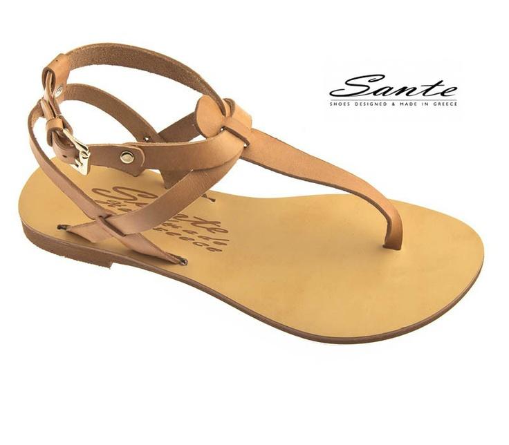 Sandal flat Sante από δέρμα με τοκαδάκι στον αστράγαλο.